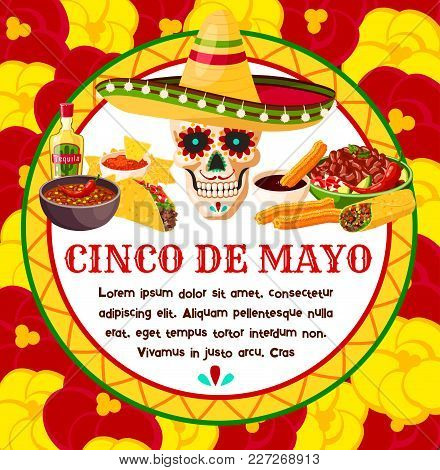 Cinco De Mayo Mexican Celebration Greeting Card Of Skull In Sombrero And Traditional Food Or Tequila