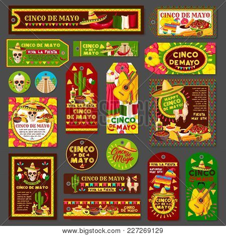 Cinco De Mayo Mexican Fiesta Party Tag And Greeting Card Set. Latin American Holiday Sombrero Hat, C