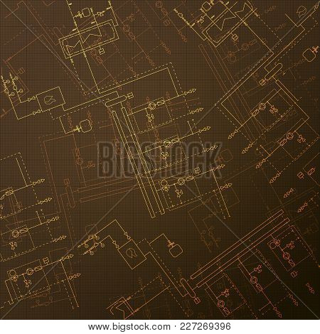 Gas Boiler In The Room. Hvac Technical Blueprint. Central Heating Engineering Drawings. Brown Backgr