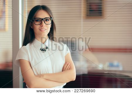 Chic Smart Business Woman Standing In Front Of Her Office