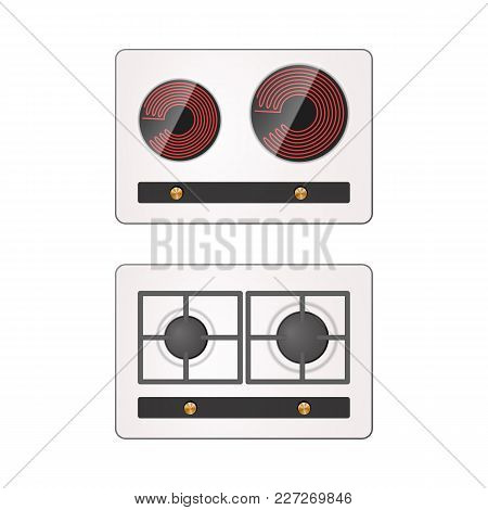 Gas And Electric Hotplate. Household Equipment Vector Illustration.