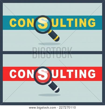 Illustration Of Consulting Word With Magnifier Concept