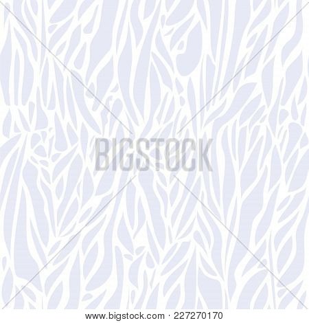 Vector Abstract Seamless Pattern With Curved Spots. Light-gray Spots On White Background. Modern Gra