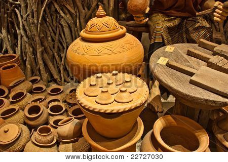 Ancient antique pottery art bowls ethnic ethnology heritage history poster