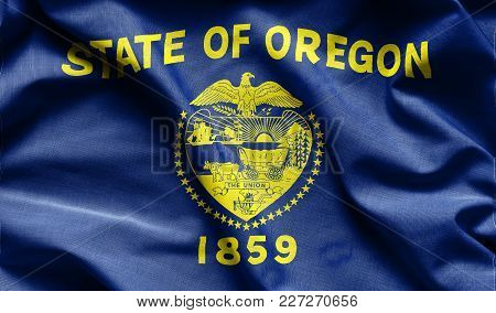 Fabric Texture Of The Oregon Flag Background - Flags From The Usa
