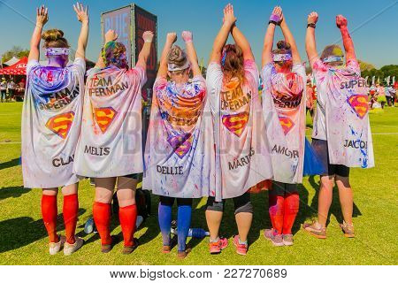 Johanneburg, South Africa,  05/21/2017, Young People Dressed Up As Super Heroes At The The Color Run