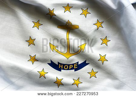 Fabric Texture Of The Rhode Island Flag Background - Flags From The Usa