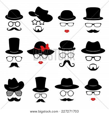 Man And Woman Faces. Photo Props Collections. Retro Party Set With Glasses, Mustache, Beard, Hats An