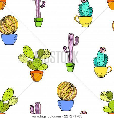 Vector Cacti Flower Background. Seamless Pattern With Cactus In Pot. Cartoon Hand Drawn Cactus.