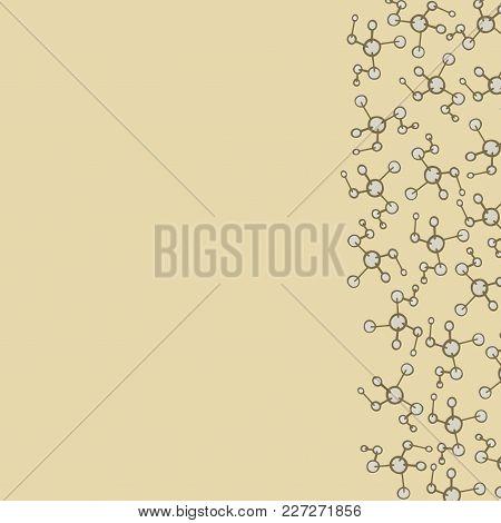 Geometric Postcard Vector. Scientific Template. Postcard Beige Color. Physics Desidn. Chemistry Card
