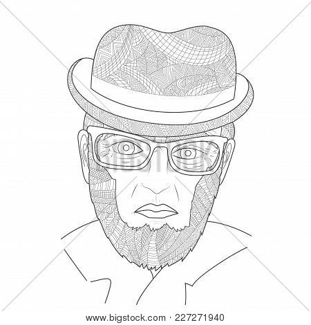 The Old Men Portrait Man Zen Tangle Vector Illustration. Grandfather With A Glasses In The Hat. Colo