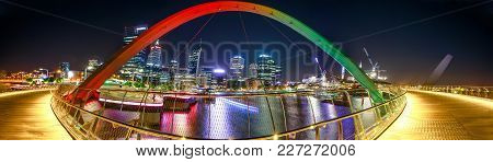Panorama Of Coloful Arcade And Illuminated Walkway Of Elizabeth Quay Bridge By Night At Elizabeth Qu