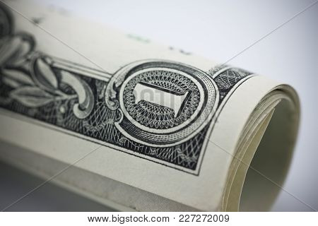 Close Up Roll Of One Dollar Banknotes