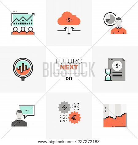 Semi-flat Icons Set Of Stock Market Data, Trading Securities. Unique Color Flat Graphics Elements Wi