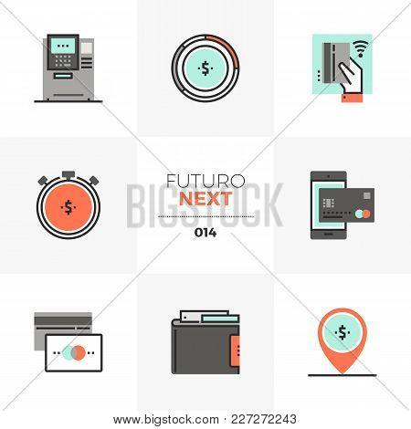 Semi-flat Icons Set Of Credit Card, Cash Management, Loan Money. Unique Color Flat Graphics Elements