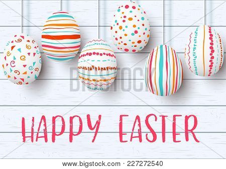 Happy Easter. Pending Easter Eggs On White Wooden Background. Easter Colorful Hanging Eggs With Simp