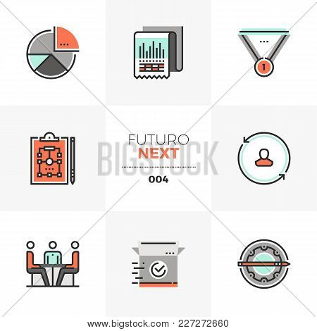 Semi-flat Icons Set Of Business Plan, Market Operation Strategy. Unique Color Flat Graphics Elements
