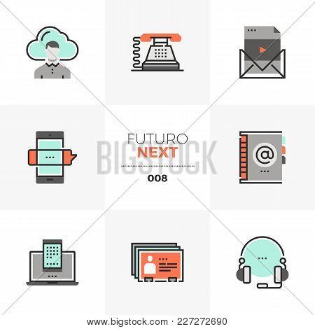 Semi-flat Icons Set Of Business Communication, Mobile Connection. Unique Color Flat Graphics Element