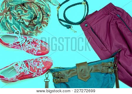 Set Of Women Clothes Casual Style. Modern Accessories Of A Young Woman. Top View Flat Lay