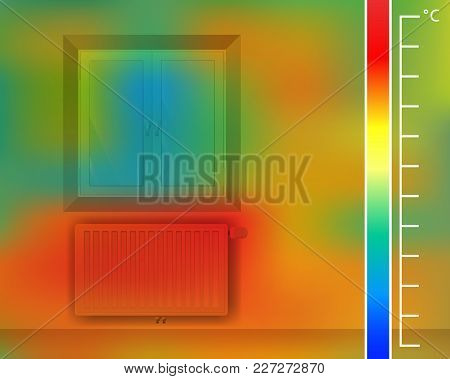 Window On The Wall In The Room Vector Illustration. Steel Panel Radiator For A Thermal Imager. Color