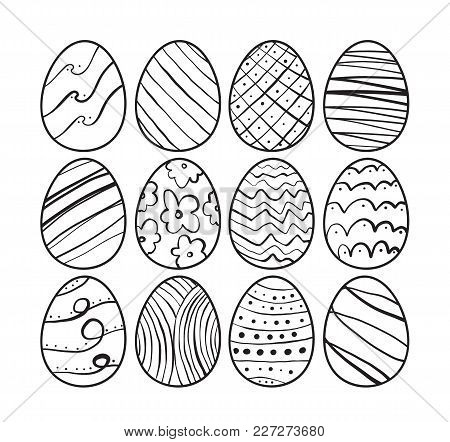 Vector Illustration: Hand Drawn Easter Eggs. Sketch Line Doodle Design