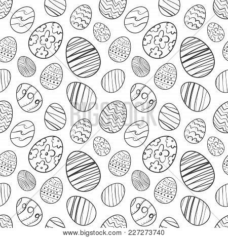 Vector Illustration: Seamless Pattern Of Hand Drawn Easter Eggs. Sketch Line Doodle Design