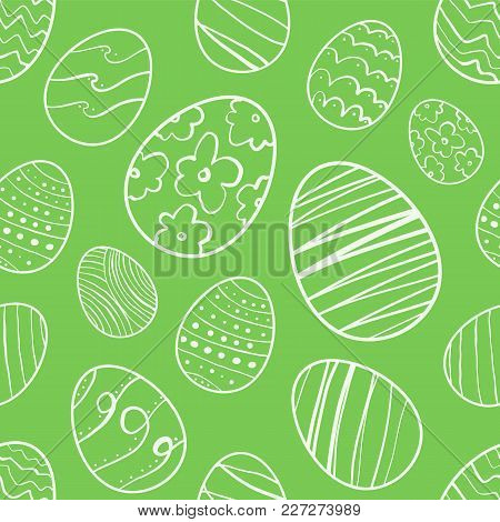 Vector Illustration: Green Seamless Pattern Of Hand Drawn Easter Eggs. Sketch Line Doodle Design
