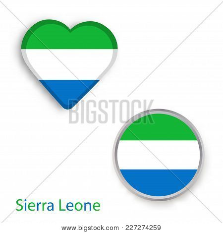 Heart And Circle Symbols With Flag Of Sierra Leone. Vector Illustration