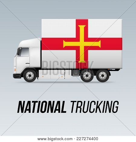 Symbol Of National Delivery Truck With Flag Of Guernsey. National Trucking Icon And Flag Design