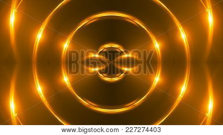 Vj Fractal Gold Kaleidoscopic Background. 3d Rendering Digital Backdrop