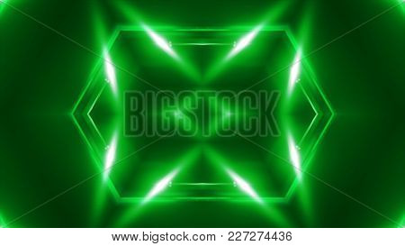 Vj Fractal Green Kaleidoscopic Background. 3d Rendering Digital Backdrop