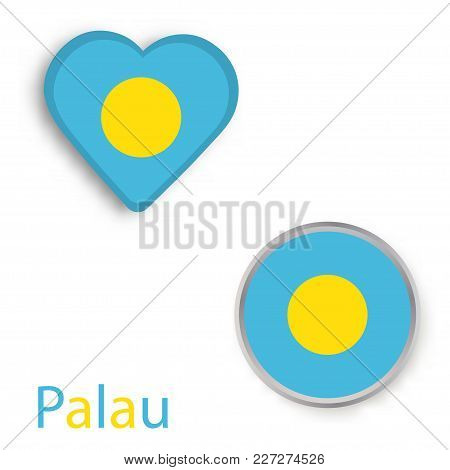 Heart And Circle Symbols With Flag Of Palau. Vector Illustration
