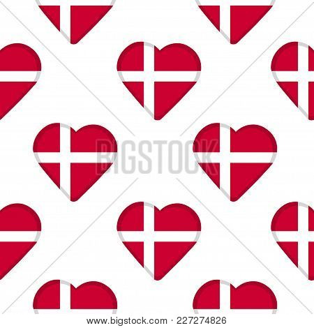 Seamless Pattern From The Hearts With Flag Of Denmark. Vector Illustration