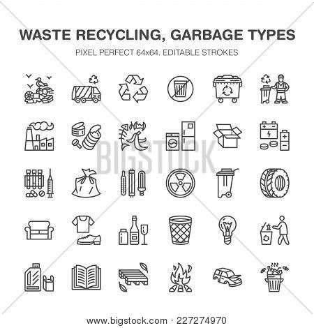 Recycling Flat Line Icons. Pollution, Recycle Plant. Garbage Sorting Types - Paper, Glass, Plastic,