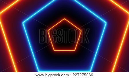 Abstract Neon Polygonal Background. 3d Rendering Backdrop