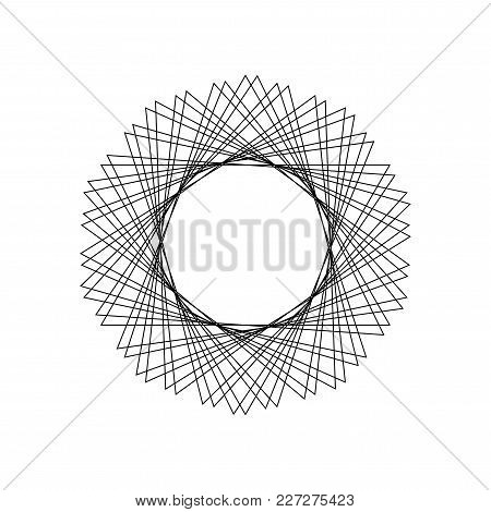 Vector Mystical Geometric Pattern. Sacred Geometry Round Frame From Triangle. Simple Guilloche