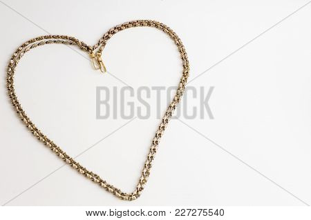 Thick Golden Chain - Heart Frame. Jewelry Decoration.