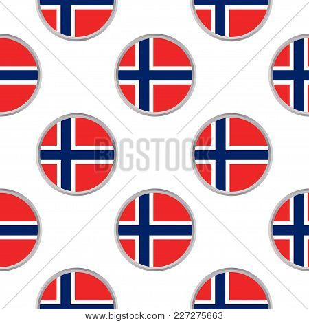 Seamless Pattern From The Circles With Flag Of Norway . Vector Illustration