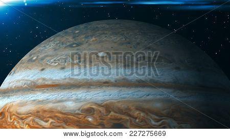 Planet Jupiter. 3d Rendering Digital Background. Space Backdrop