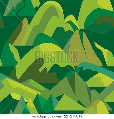 Green Seamless Pattern With Mountain Icons In Flat Style. Repeatable Background With Different Rock