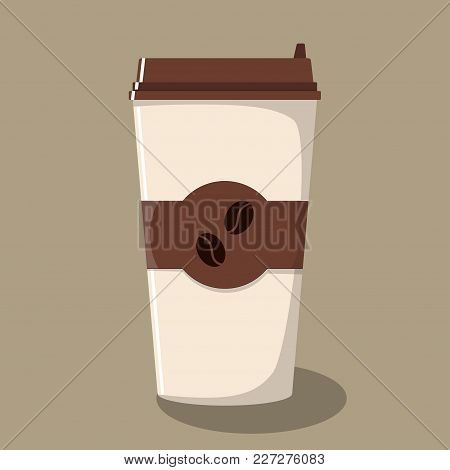 Paper Coffee Cup With Lid And Emblem With Coffee Beans. Take-away Coffee. Coffee To Go. Vector Illus