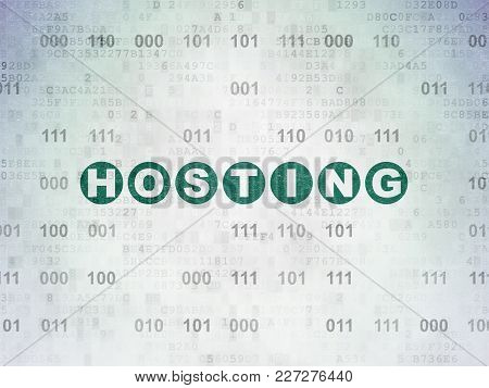 Web Design Concept: Painted Green Text Hosting On Digital Data Paper Background With Binary Code