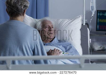 Sick Senior Man With Alzheimer