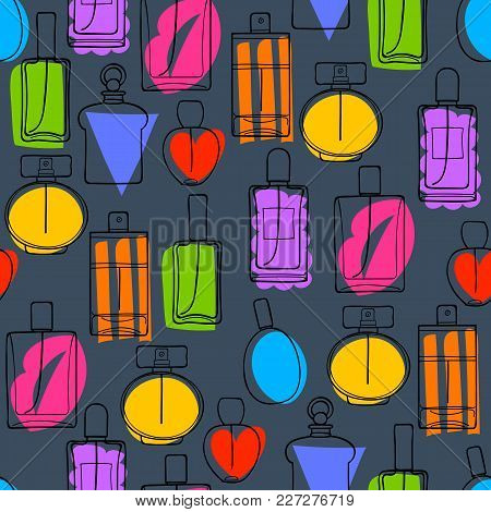 Colorful Perfume Bottles Icons Seamless Pattern. Eau De Parfum Background. Eau De Toilette. Doodle S