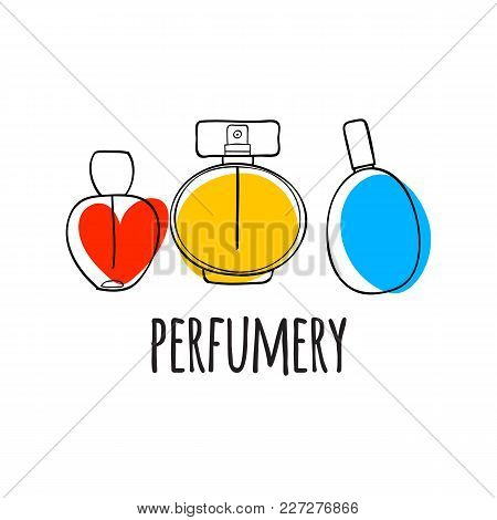 Perfume Bottles Icons Vector Illustration. Eau De Parfum. Eau De Toilette. Doodle Sketch Style.