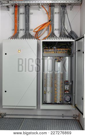Switching Panel With A Plurality Of Optical Cables Is In The Server Room In Data Center