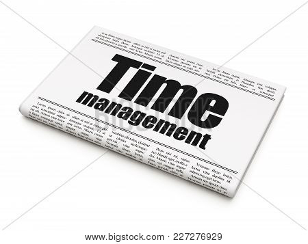 Timeline Concept: Newspaper Headline Time Management On White Background, 3d Rendering