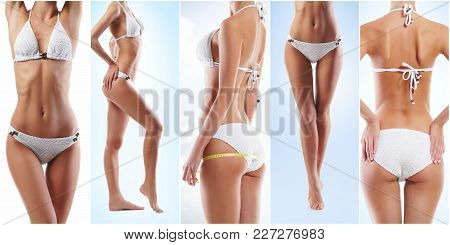 Collage Of A Fit Female Body In Underwear. Health, Sport, Fitness, Nutrition, Weight Loss, Diet, Cel