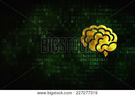 Health Concept: Pixelated Brain Icon On Digital Background, Empty Copyspace For Card, Text, Advertis