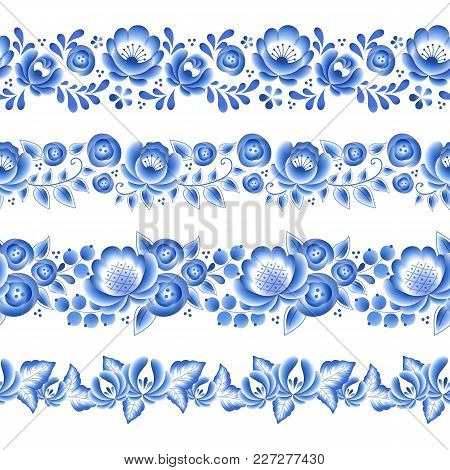 Blue Flowers Floral Russian Porcelain Beautiful Folk Ornament. Vector Illustration. Seamless Horizon